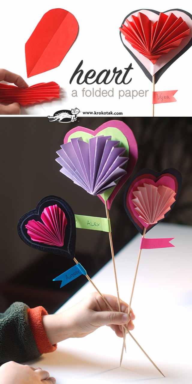 A folded paper heart