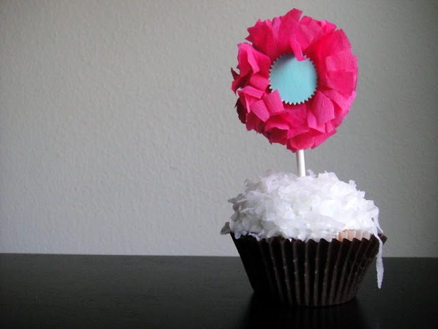 Crepe Paper Flower Cupcake Topper