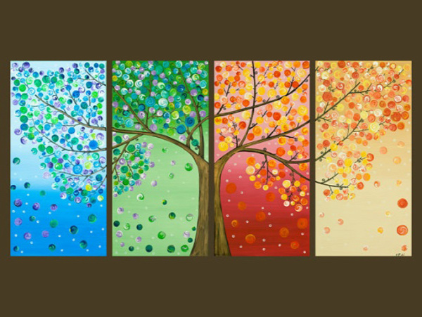 4 Seasons Button Tree Wall Art by Amanda Formaro, Crafts by Amanda