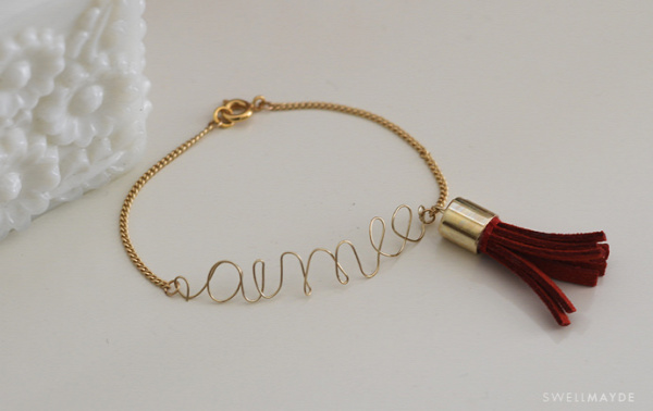 Wire Love / Name Bracelet with Tassel