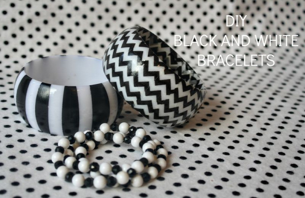 Black and White Bracelets: Chevron