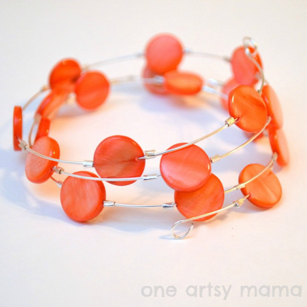 Coral Memory Wire Bracelet