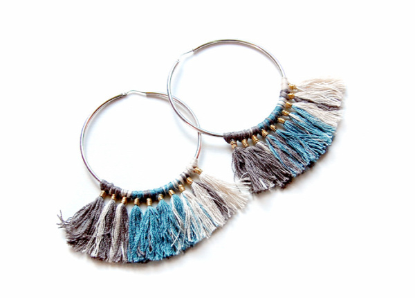 Threaded Tassel Hoop Earrings