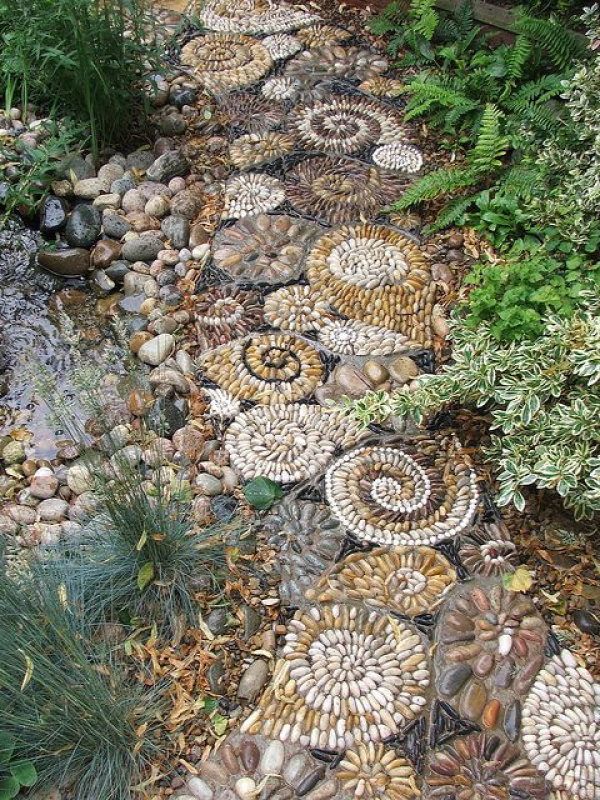 looks like they made smaller stepping stones with the designs and then placed them together and filled it in Love It!