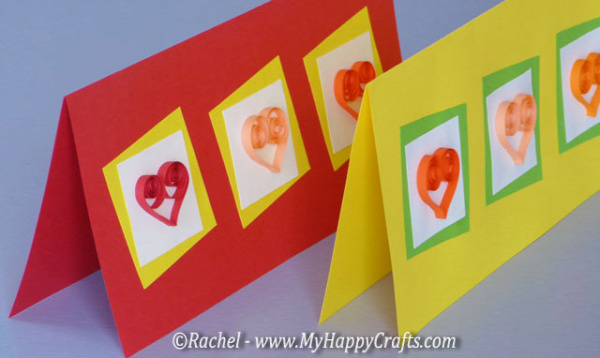 cards with hearts made with quilling technique