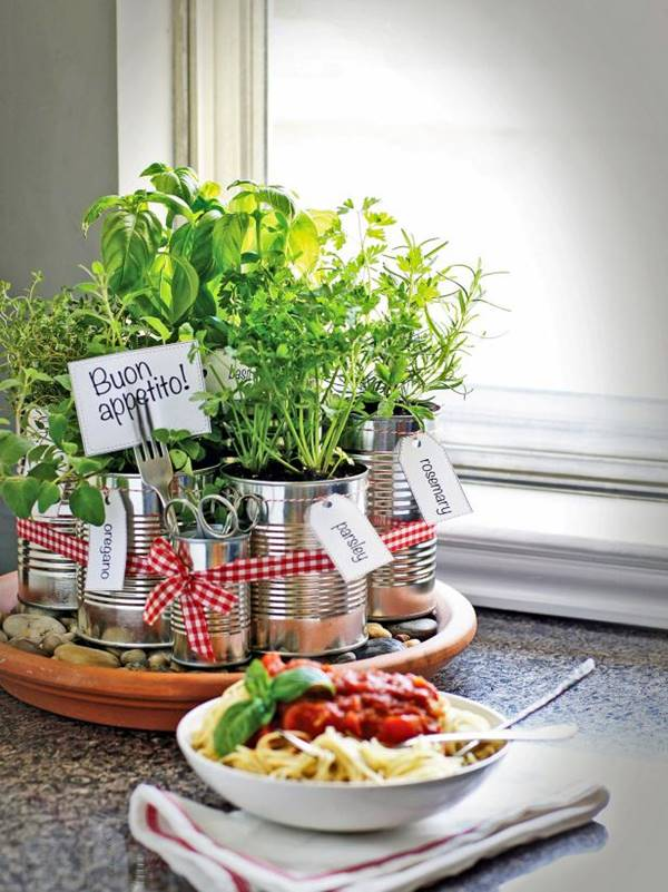 35+ Creative DIY Herb Garden Ideas --> DIY Kitchen Countertop Herb Garden