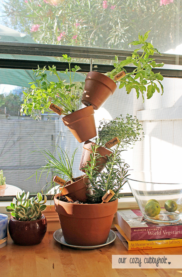 35+ Creative DIY Herb Garden Ideas --> DIY Vertical Herb Garden