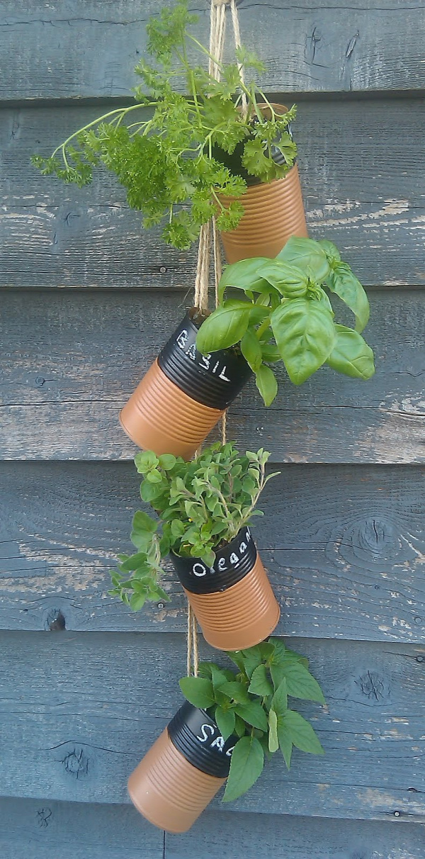 35+ Creative DIY Herb Garden Ideas --> DIY Hanging Soup Can Herb Garden