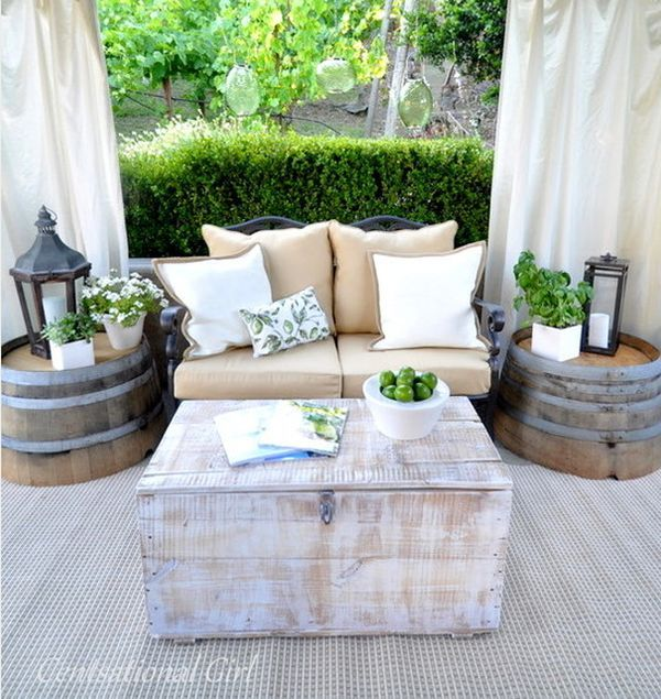 15 Outdoor Furniture Inspiration: love these barrel tables with lanterns