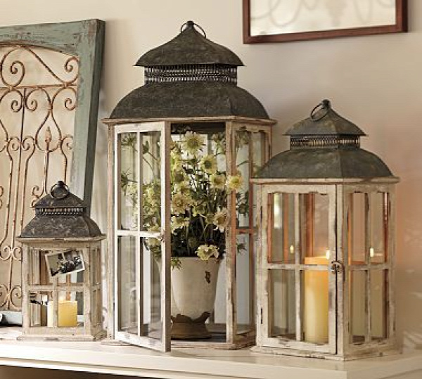 Lanterns can be used for every holiday and season. Add some ornaments for Christmas, plastic eggs for Easter, pumpkins for Halloween, red white and blue beads for 4th of July with a red candle in the middle. You can also decorate the top by adding a flower swag and the list goes on....