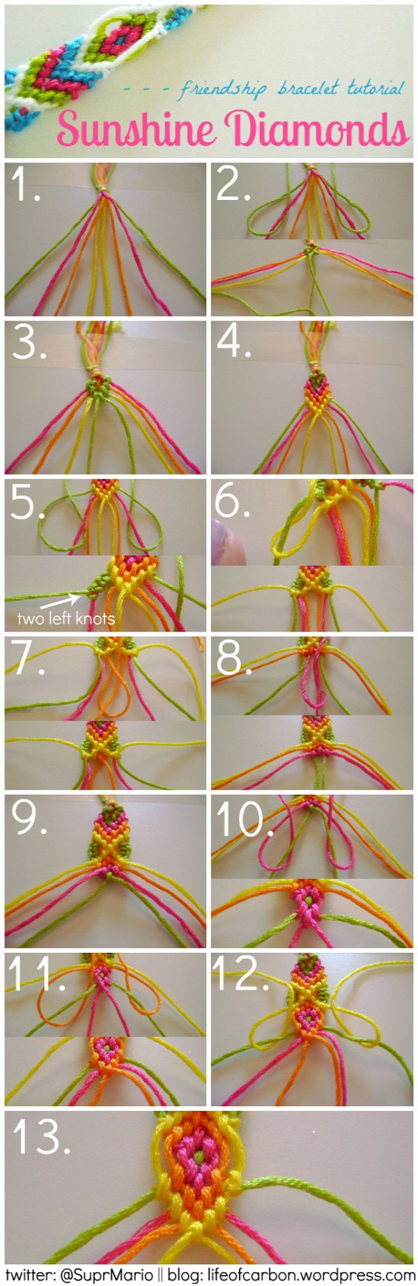 Sunshine Diamonds Friendship Bracelet Tutorial (Not that I have the skill for this, but maybe one day I'll get crazy super powers or something and be able to make this....)