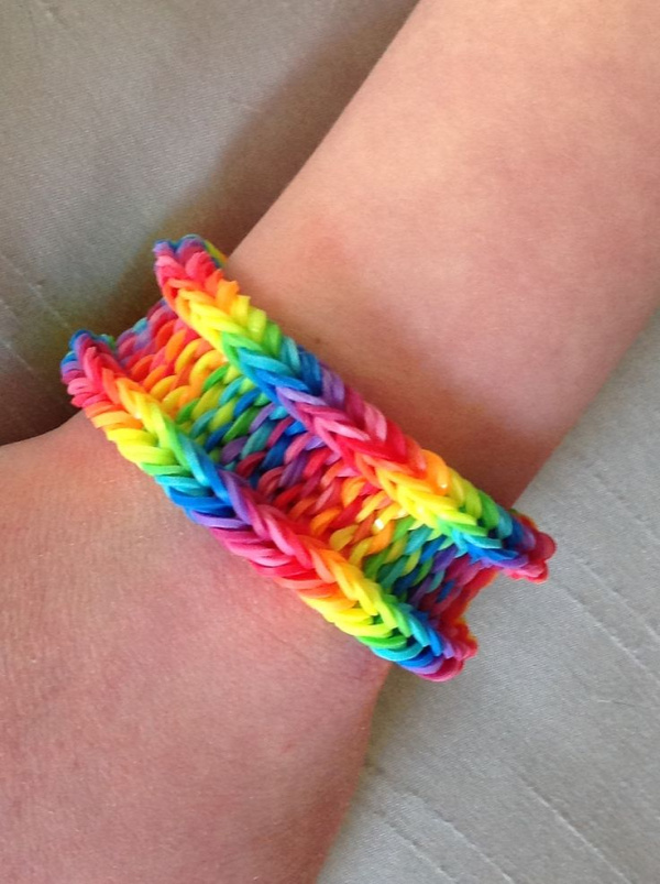 Rainbow Weave with the latest versions of the Rainbow Loom bands.  The new basic rainbow colors are brighter than the originals.