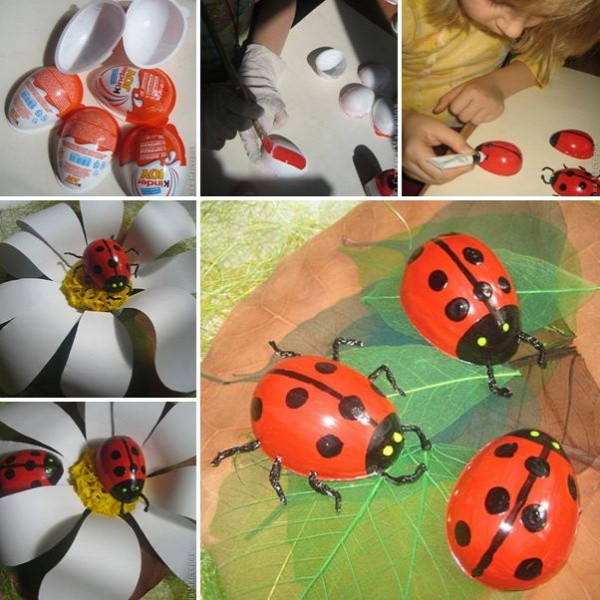 Make These Creative Ladybugs From Kinder Surprise Eggs - http://www.amazinginteriordesign.com/make-creative-ladybugs-kinder-surprise-eggs/