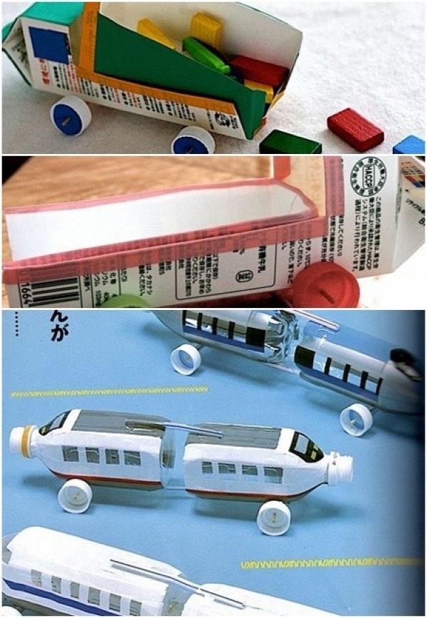 Milk carton trucks with working wheels