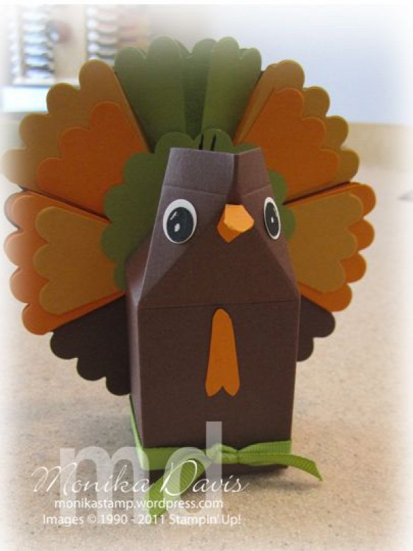 thanksgiving turkey favor. free tutorial with milk carton die by monika davis