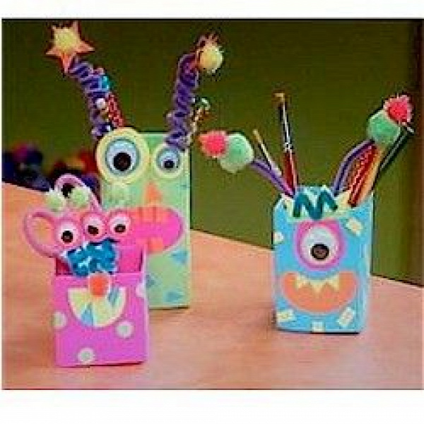 Recycle empty Milk Cartons into fun monsters then create your own story.www.freekidscrafts.com