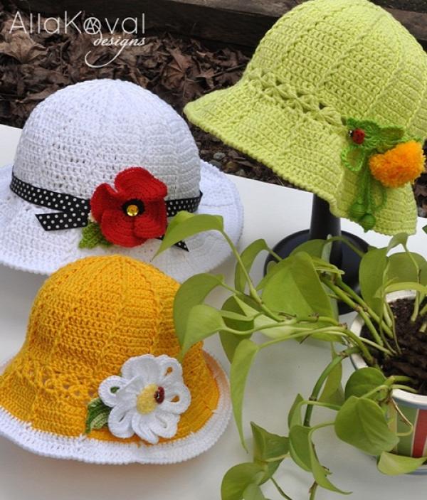 Crochet Summer flower Sun Hat Free Pattern