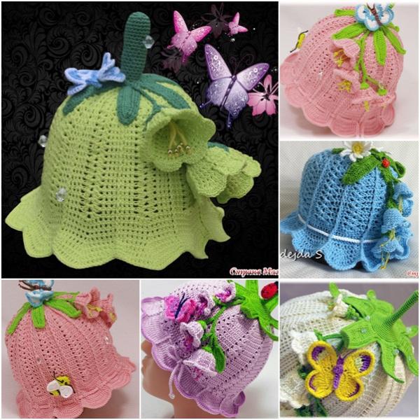 Crochet Girls Bluebell Beanie Hat