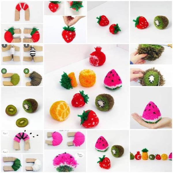 DIY Fruit Pom Poms