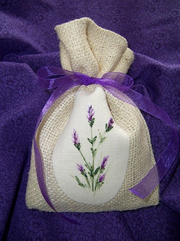 Cozy Expressions Original Design.  Burlap Sachet with handpainted lavender on the front