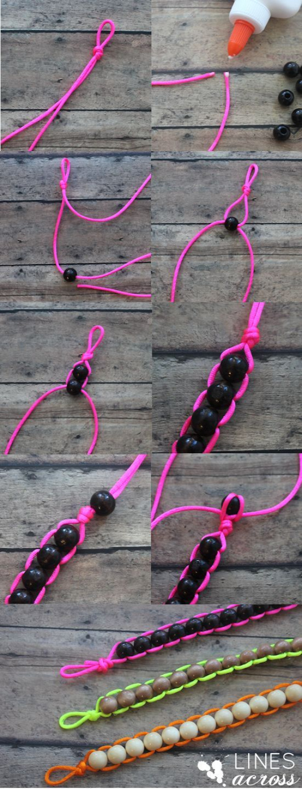 Easy Wood Floating Bead Bracelet