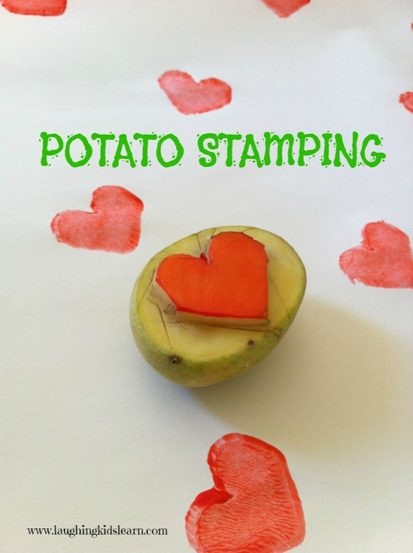 Laughing Kids Learn: Potato Stamps - you could do this with two different colors of paint and have students write equations to match!