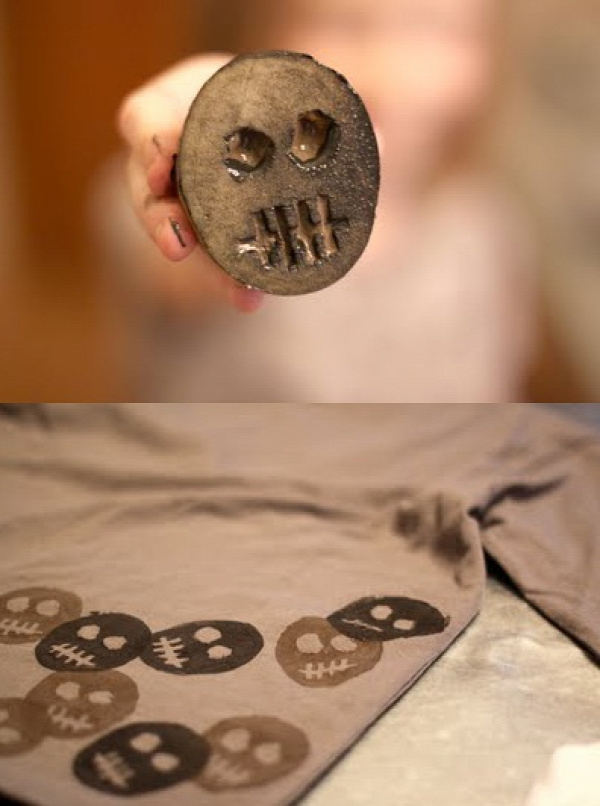 Potato Print skeleton tees. Would also be good on halloween curtains or tablecloth.
