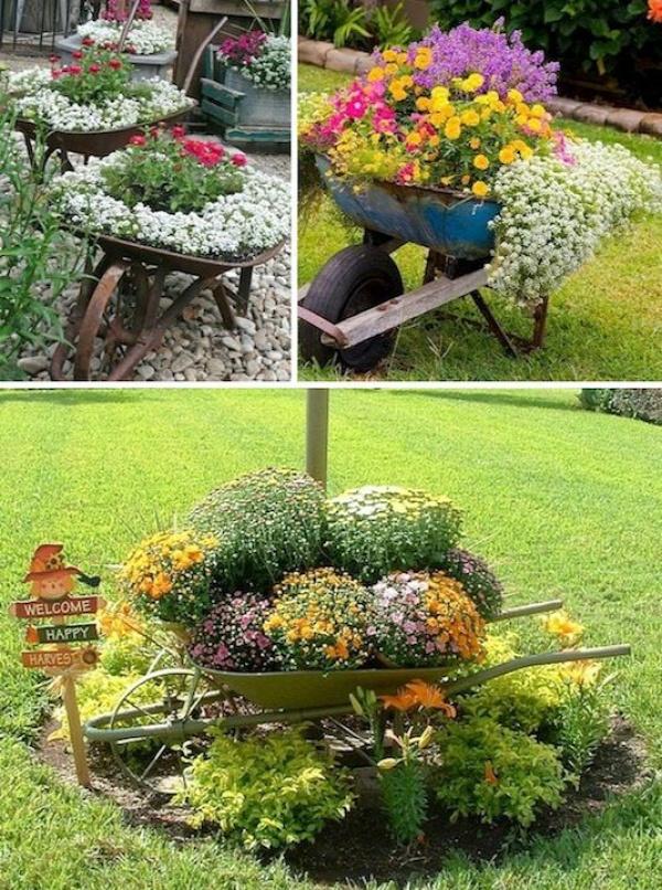 24 Creative Garden Container Ideas | Use wheel barrows as planters!