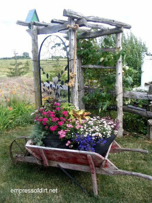 30 Garden container ideas | Wheelbarrow planter