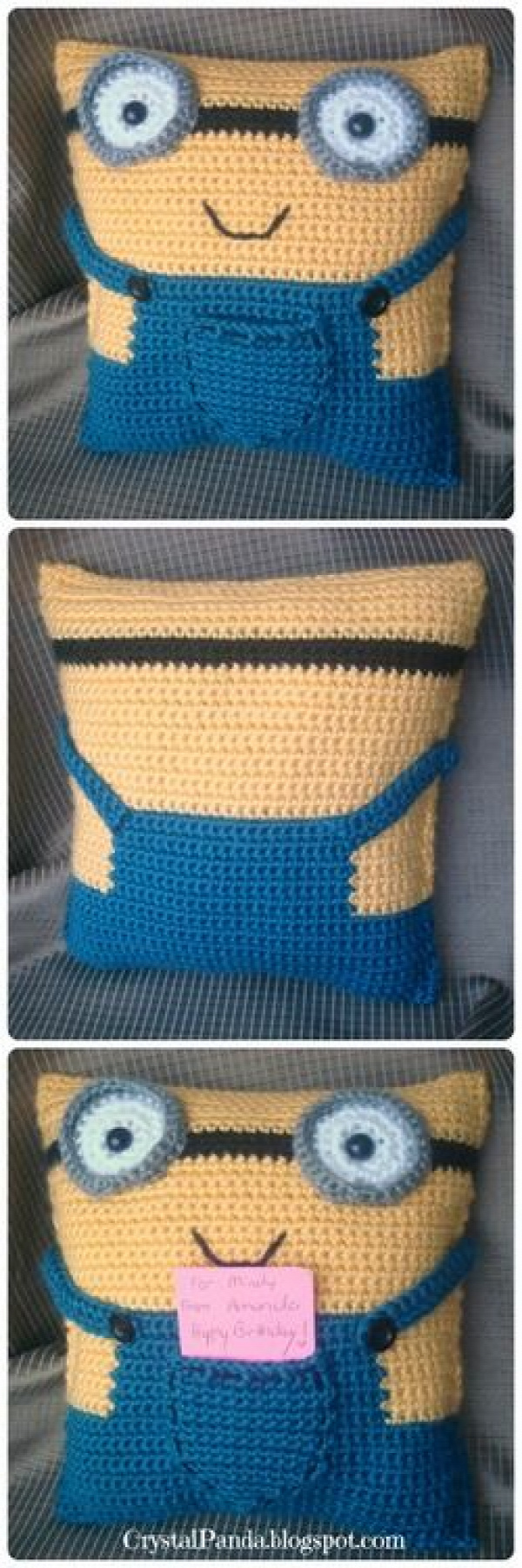 Crochet Minion Pillow Gift Card Holder - isn't he cute! ♪ ♪ ... #inspiration_crochet #diy GB