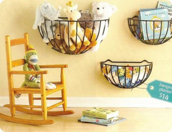 20+ Creative DIY Ways to Organize and Store Stuffed Animal Toys --> Garden Hanging Baskets Mounted On The Wall As Toy Storage