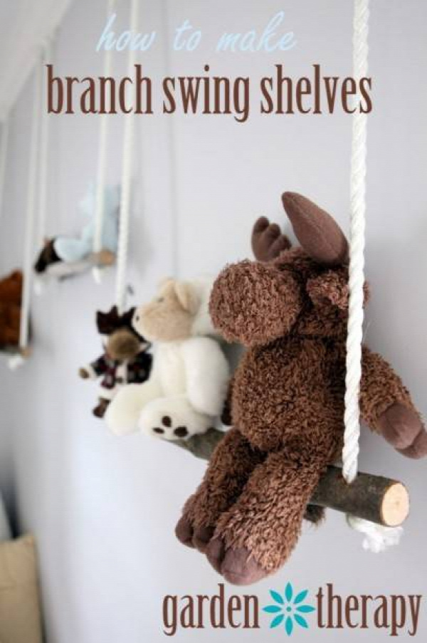 20+ Creative DIY Ways to Organize and Store Stuffed Animal Toys --> DIY Branch Swing Shelves for Stuffed Toys