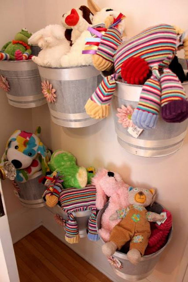 20+ Creative DIY Ways to Organize and Store Stuffed Animal Toys --> Wall Mounted Buckets As Storage For Stuffed Animals