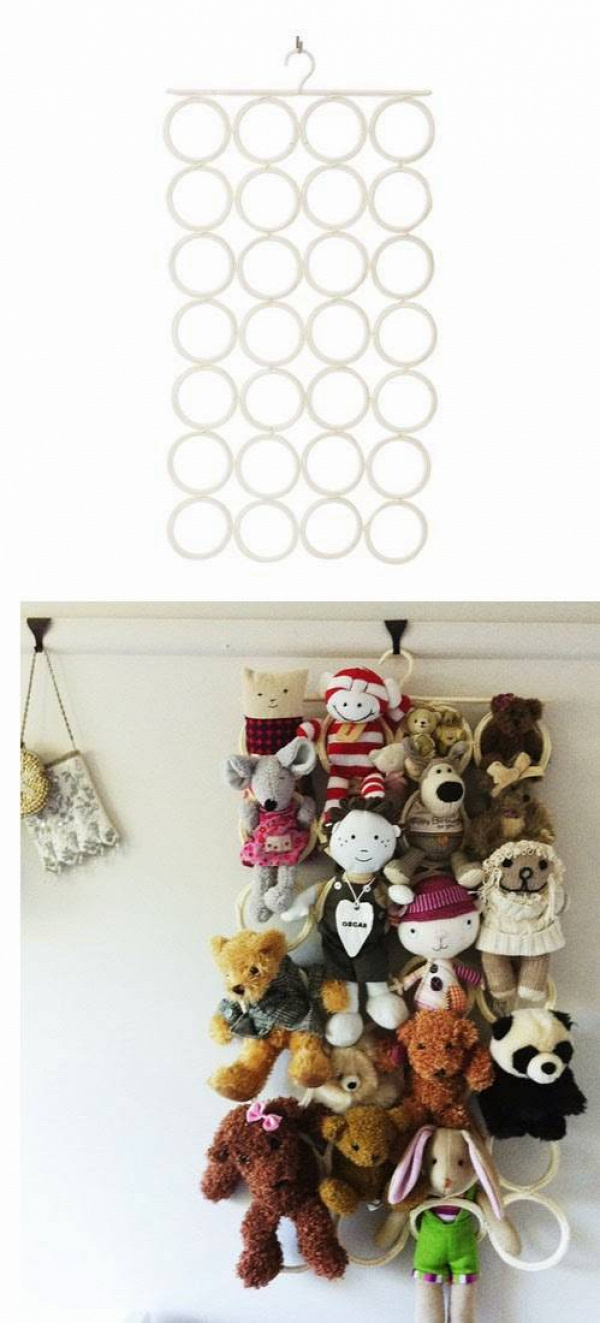 20+ Creative DIY Ways to Organize and Store Stuffed Animal Toys --> Use The Ikea Komplement Multi-use Hanger to Hang Stuffed Toys