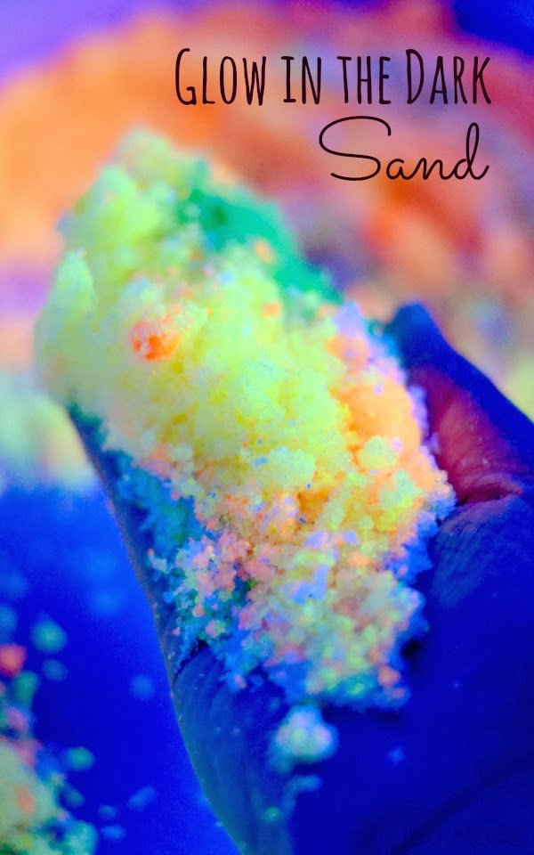 Make your own glow in the dark sand for sensory play, arts and crafts, glow in the dark sand art, magic melting sand art, and MORE! So easy to make and so many ways to play!
