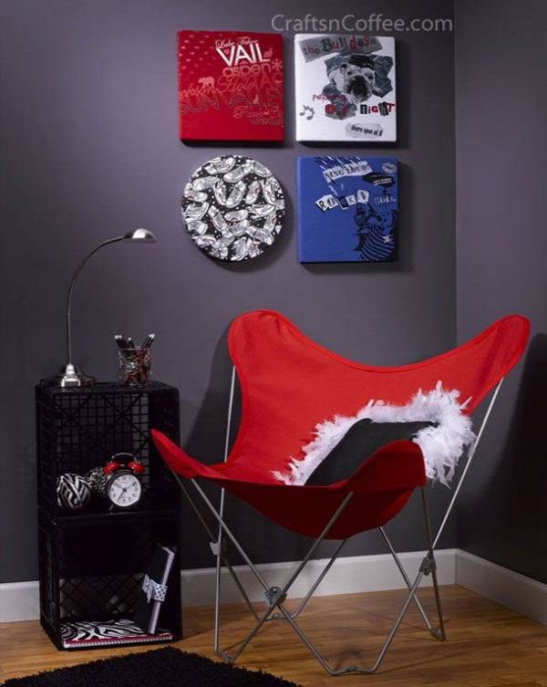 40+ Creative Ideas to Repurpose and Reuse Your Old T-shirts --> T-shirt Wall Art
