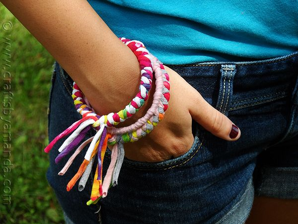 40+ Creative Ideas to Repurpose and Reuse Your Old T-shirts --> DIY Bracelets from Recycled T-shirts