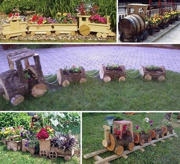 DIY Wooden Train For Your Garden tutorial