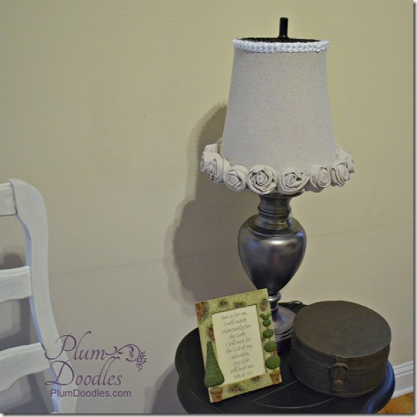 Fabric Covered Trash Can Lamp Shade | PlumDoodles.com