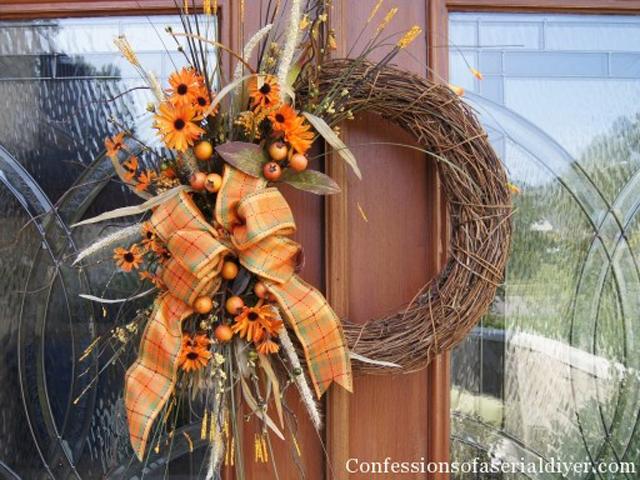 ősz ajtódísz koszorú