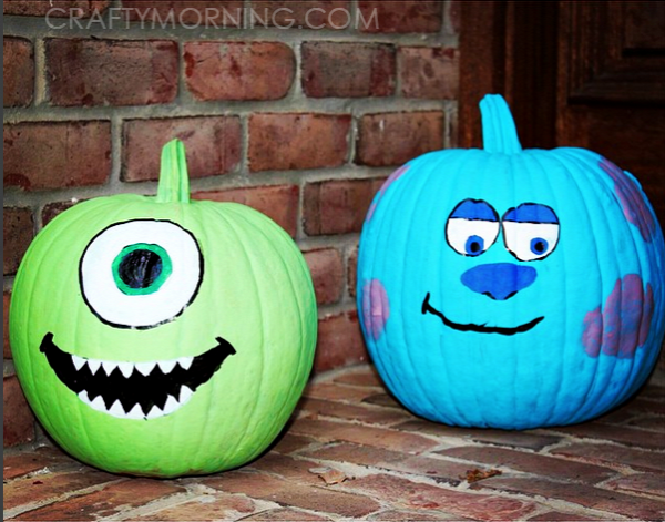 monsters-inc-sully-mike-no-carve-pumpkins