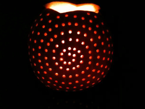 pumpkins carved with drill. The husbands will love this idea!