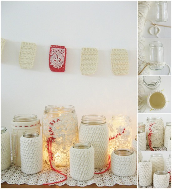 Crocheted Jar Cluster - 12 Magnificent Mason Jar Christmas Decorations You Can Make Yourself