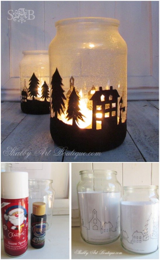 A Lovely Christmas Township - 12 Magnificent Mason Jar Christmas Decorations You Can Make Yourself