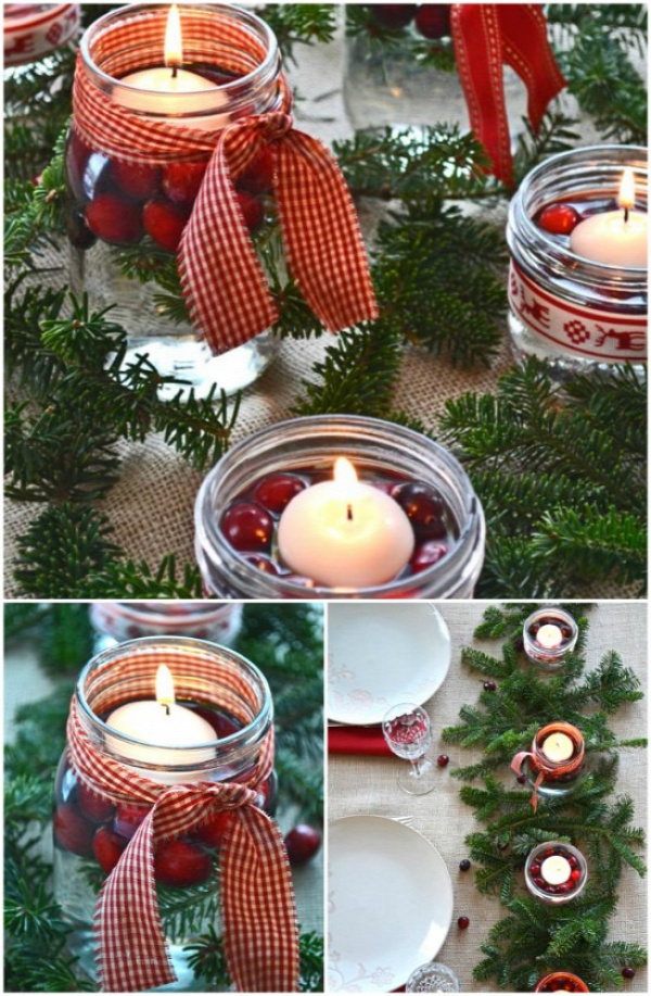 Rustic Centerpiece - 12 Magnificent Mason Jar Christmas Decorations You Can Make Yourself