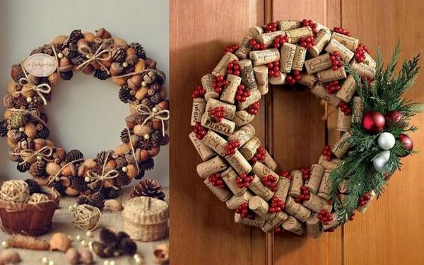 Christmas DIY wreath ideas cork wreaths christmas decorations