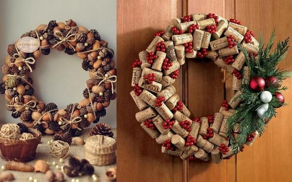 Christmas DIY wreath ideas cork wreaths christmas decorations