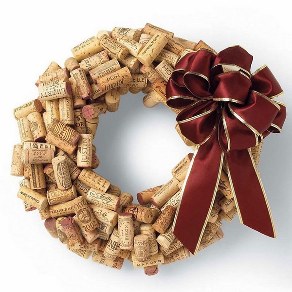 wine cork wreath for christmas easy craft ideas DIY christmas wreath