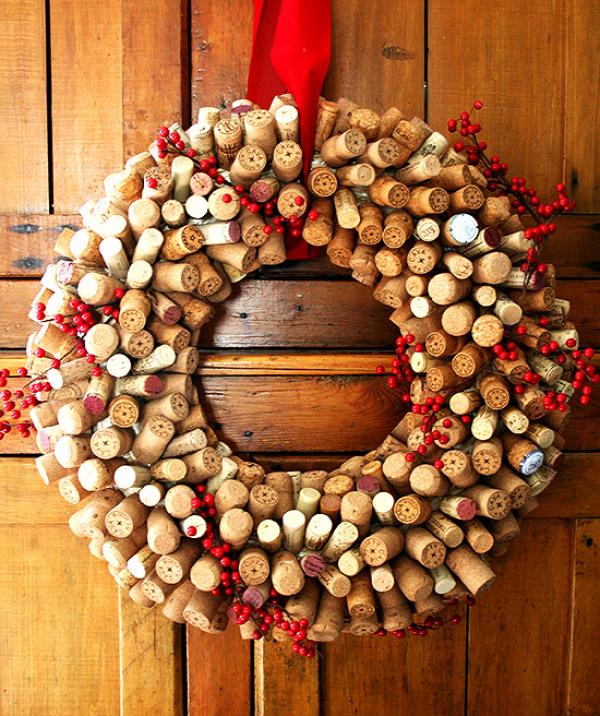 Unique christmas wreath ideas cork wreath cranberries