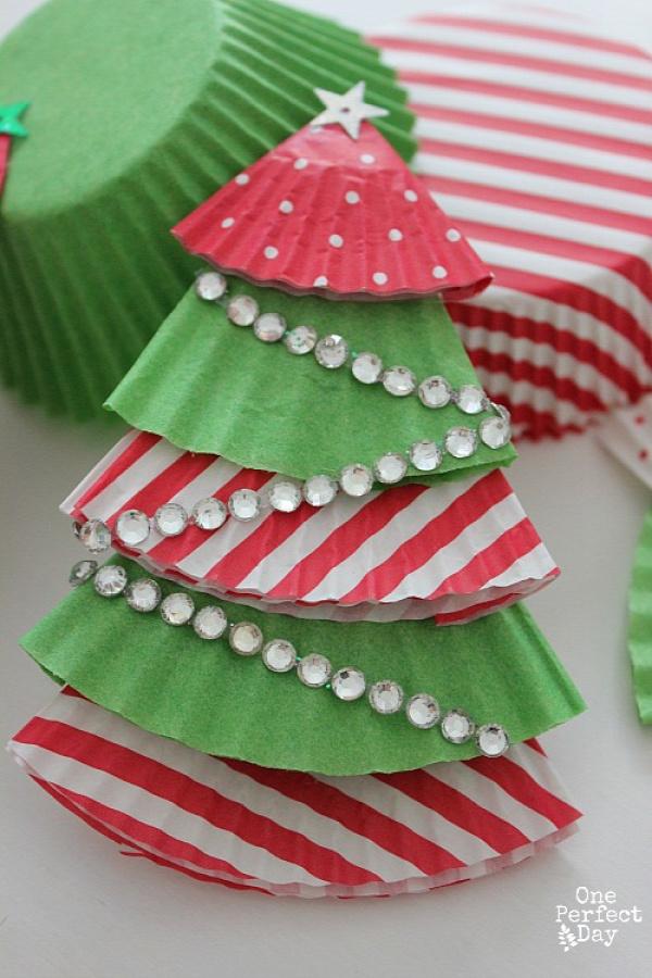 karácsony papírdísz girland muffinpapír